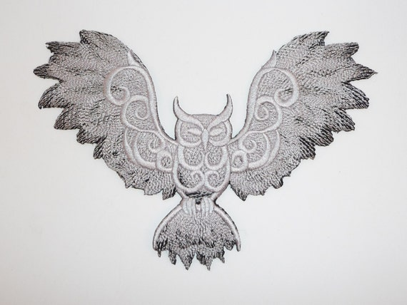 owl with wings spread  Embroidered Owl with Wings Spread 2 Colour Motif / Patch /   Etsy