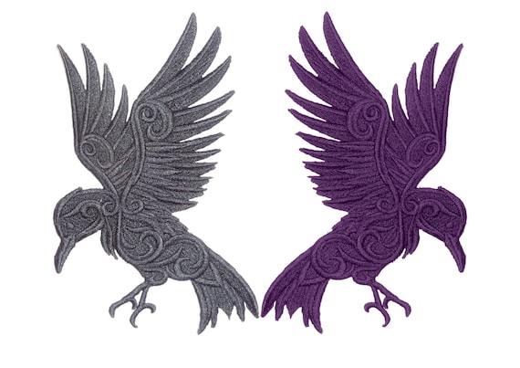 Bordado gótico Raven motif//patch//badge applique-lots de color opciones