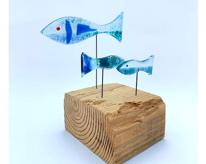 Featured listing image: Shoal of three fish - recycled fused greenhouse glass on a driftwood base