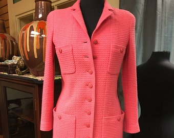 Rose colored button front Chanel coat dress 38