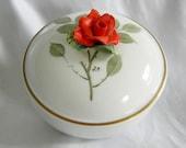 LIMOGES Porcelain Rose Motif Trinket Box Chamart France Vintage