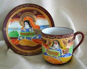 Hand Painted Moriage Japanese Motif Demitasse Fine Porcelain Cup Saucer MADE IN JAPAN Vintage 1940s 3 saucers 2 Cups Available