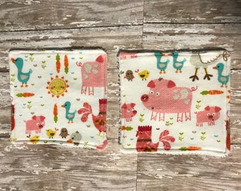 Handmade flannel and terry cloth baby washcloths