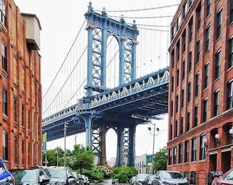 Dumbo Manhattan Bridge Photo Print. New York City Bridge, Brooklyn NYC, New York City Wall Art, Home Decor, Travel Photography, NYC Photo