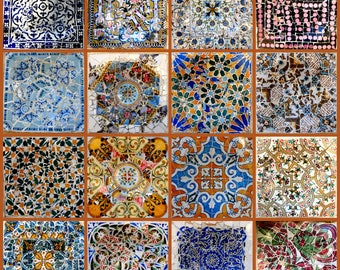 Barcelona Gaudi Mosaics Collage Print. Parc Guell Colorful Tiles Spain. Airbnb Wall Art Home Decor. Blue, Orange, Spanish Travel Photography