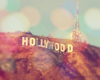 Hollywood Sign Los Angeles Photograph Print Bokeh Pastels Vintage Home
