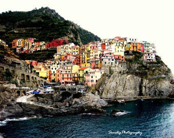 Italy Photography, Cinque Terre Photo Print, Cliffside Colorful Buildings on the Sea, Wall Art, Home Decor, Cinqueterre, Colorful Manarola