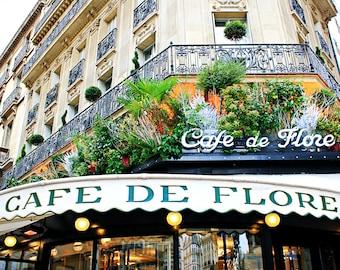 Cafe de Flore Balcony Storefront Paris Photo Print, Paris Wall Art, Cafe Art, Coffee Shop Photography, Parisian Cafe Photography, Cafe Photo