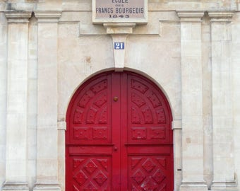 Paris Photography, Red Door, Paris Wall Art, Red Paris Door Photo, Red Door Print, Parisian Door, Paris Architecture, French Home Decor,