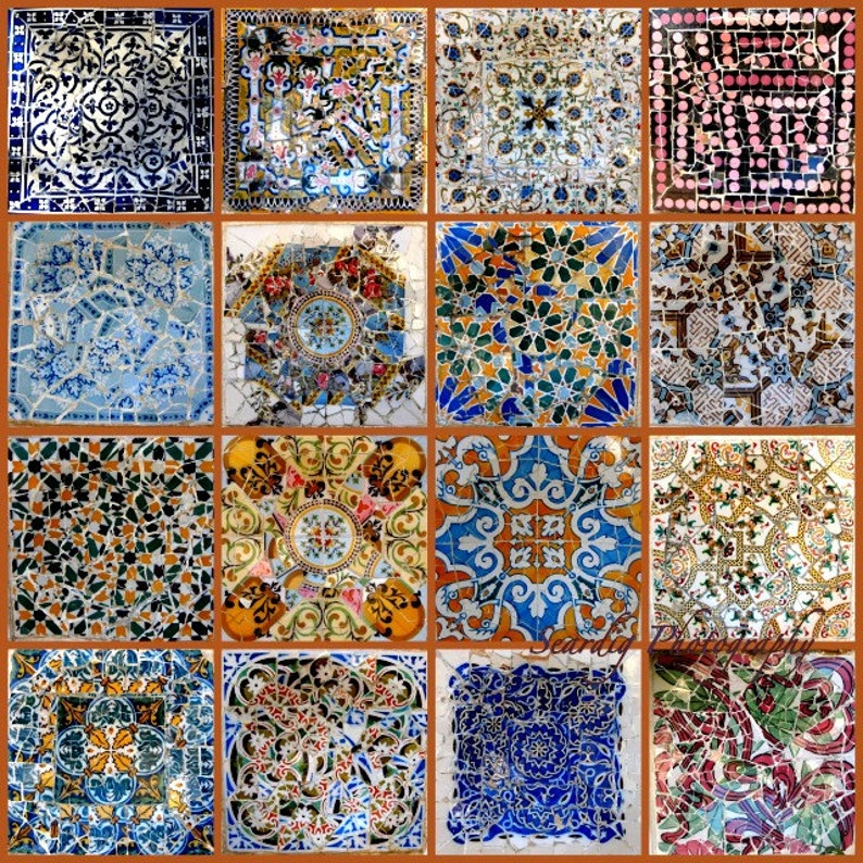 Gaudi Parc Guell Barcelona Spain Mosaic Tiles Photo Collage On Etsy