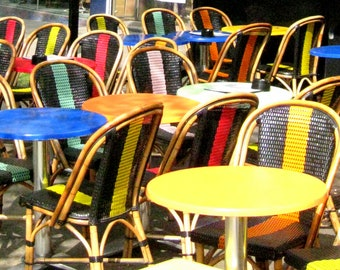 Paris Photography, Parisian Cafe, Paris Chairs, France Photo, French Home Decor, Abstract, Kitchen Art, French Cafe Wall Art, Primary Colors