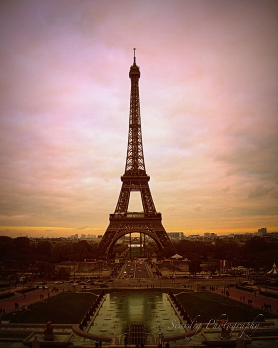 Paris Photography Eiffel Tower Photo At Sunset Dusk Paris France Photo Print French Decor Pink Purple Orange Wall Art Home Decor