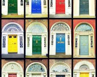 Door Photography. Dublin Doors Irish Doors. Georgian Doors. Photo Collage Colorful Print. Ireland. Wall Art Home Decor. AirBnB Wall Decor