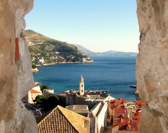 Dubrovnik Photography, Croatia - Red Roofs Photo Print. Adriatic Sea, Croatian Wall Art, View of Sea from Ancient Wall. Travel Photography