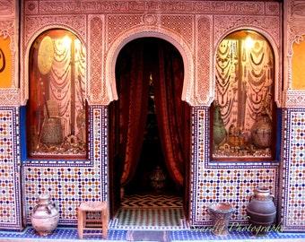 Moroccan Decor. Marrakesh, Morocco Door Photo Print. Colorful Tiles. Mosaic. Travel Photography. Blue. Orange. White. Marrakech. Home Decor.