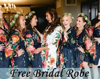 Bridesmaid Robes, Bridesmaid Gift, Bridesmaids Robe, Floral Bridesmaid Robes, Getting ready Robes, Bridal shower favor, Wedding Robes, Robes