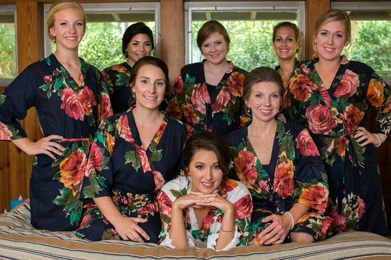 elegant in style diverse styles high fashion Navy Bridesmaid robes, floral bridesmaid, bridesmaid robe, Wedding Robes,  Floral Bridesmaids Robes,Bridal Party Robes,robes,Bridesmaids Robe