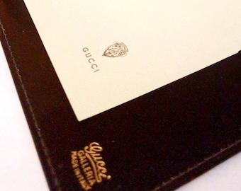 59e1b81f44e0c Rare Vintage Designer Gucci Brown Lizzard Leather 1970 s Phone book Desk  Set Sprial Binder