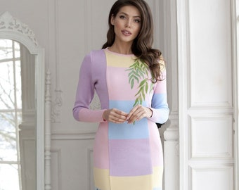 """Elegant knitted dress """"Luxurious spring"""" very delicate colors, decorated with felted floral motifs and beading!"""
