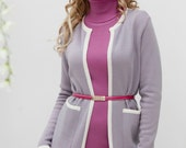 Beautiful knit two-piece pink suit quot Blossoming rose quot consists of a tight-fitting sheath dress and a straight style jacket