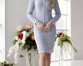 Gorgeous knitted blue two-piece suit quot Delicate quot consists of a jacket and pencil skirt. Decorated with beautiful delicate embroidery