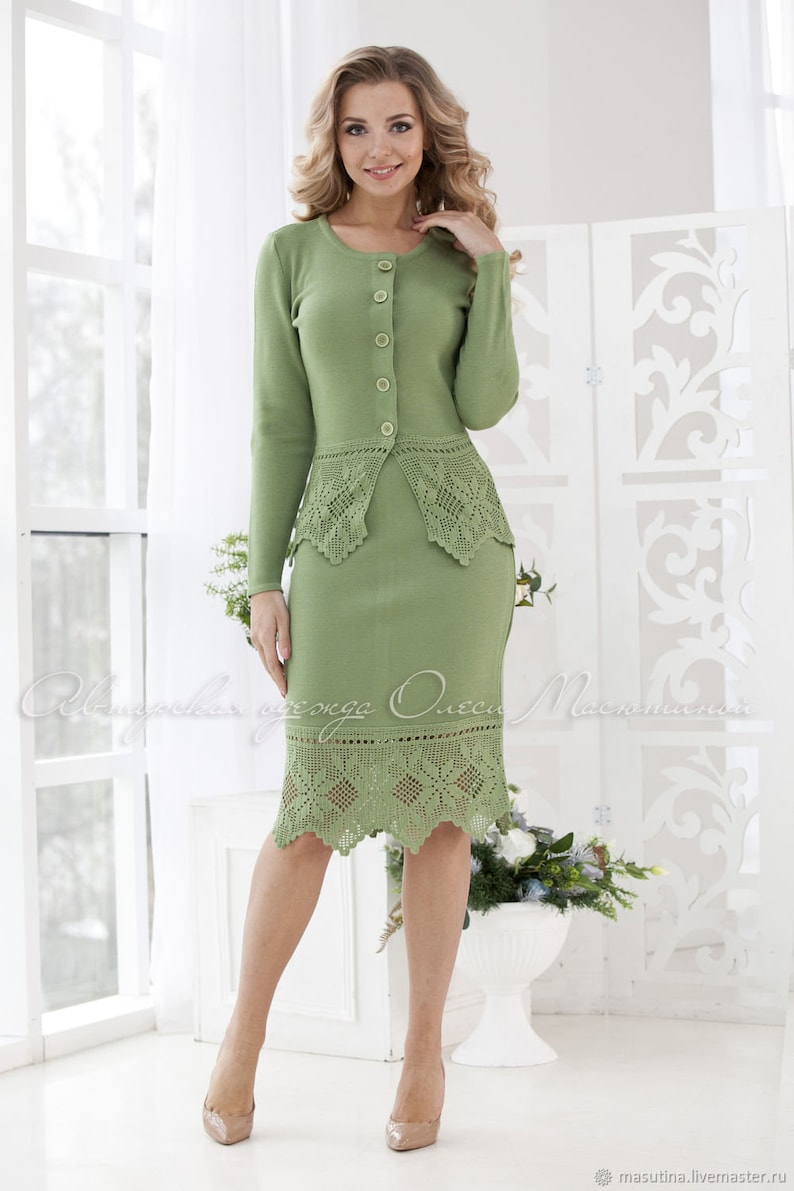 638a3a46dd30 Beautiful knitted two-piece green suit Russian
