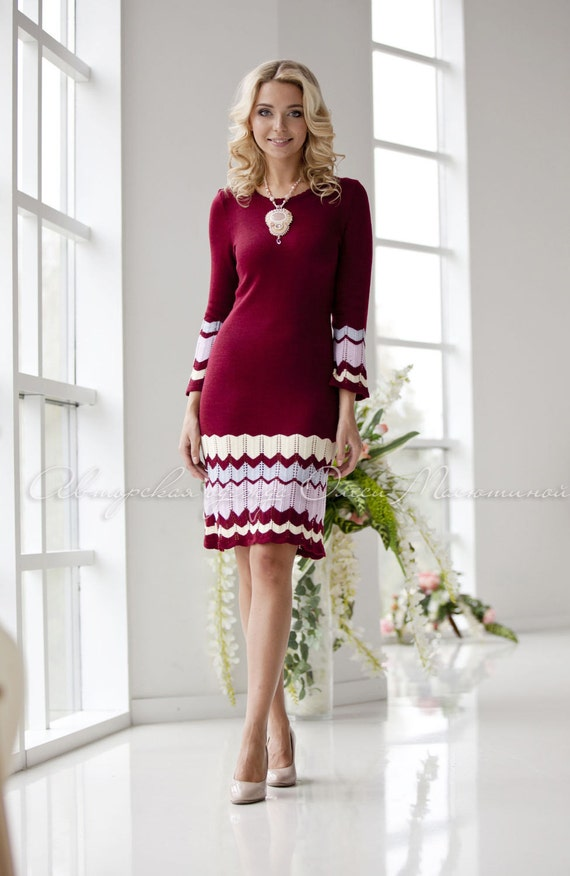 9a0c3b5b69b8 Elegant knitted dress Red Wine with stripes in