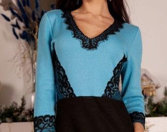 "Elegant knit dress ""Blueberry"" richly decorated with lace, style of dress visually narrow waist. Midi dress"