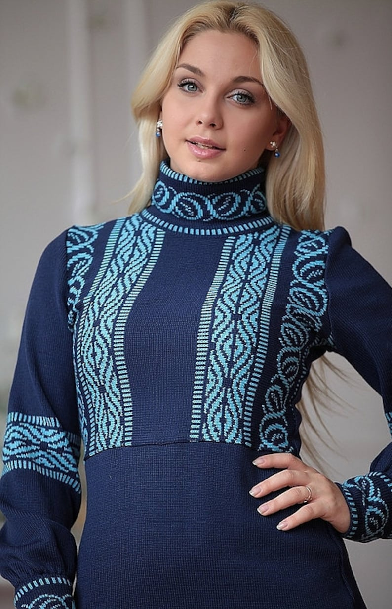 Midi dress Stylish blue jacquard warm dress Tallin with Scandinavian patterns