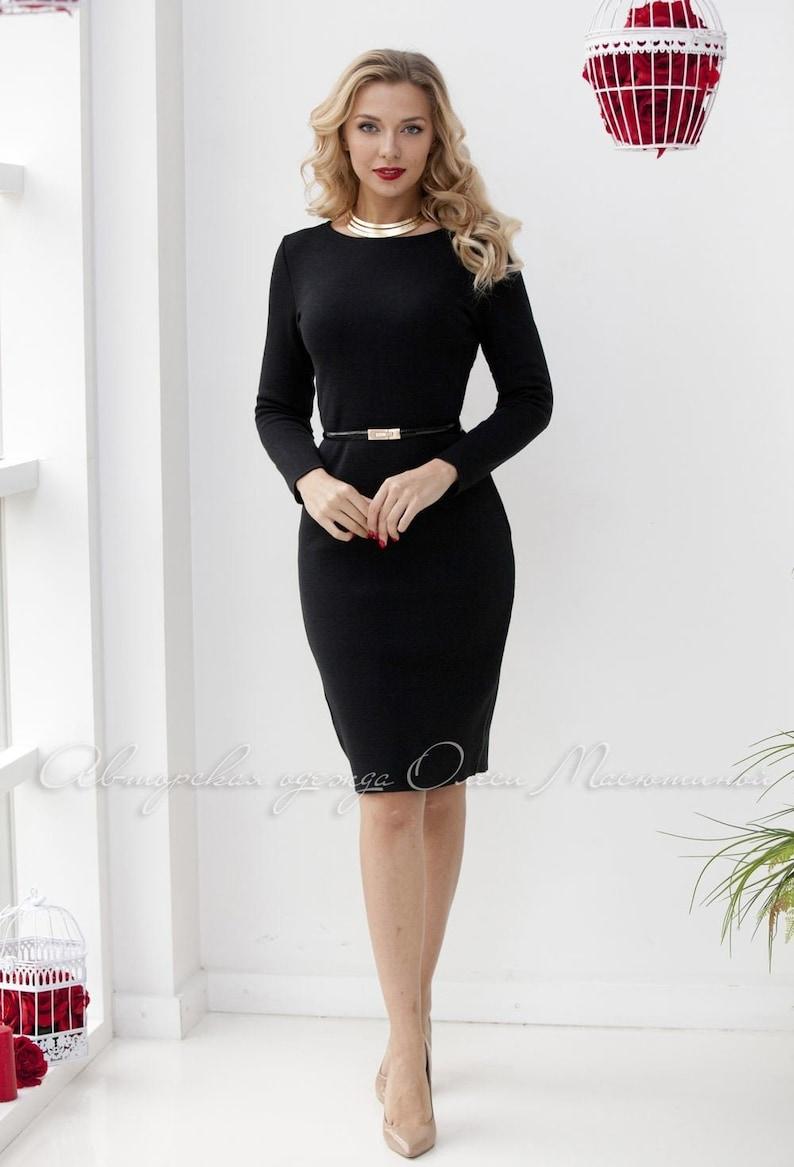Elegant black sheath dress Basic black perfect quality knitting classic style