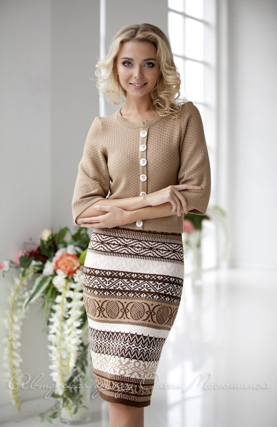 consists of a classic jacket and jacquard skirts Warm two-piece women suit Coffe in beige and brown tones