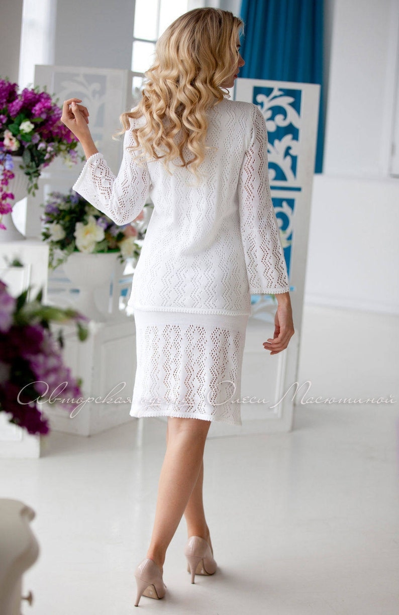 Elegant white two-piece suit Mendelssohn/'s March dress and crocheted jacket Perfect as a wedding outfit and for special occasions