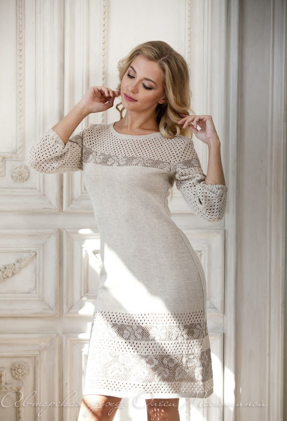 Openwork knitted dress Smoky beautiful smoky gray color knitted from summer thread viscose cotton pleasing to the skin!