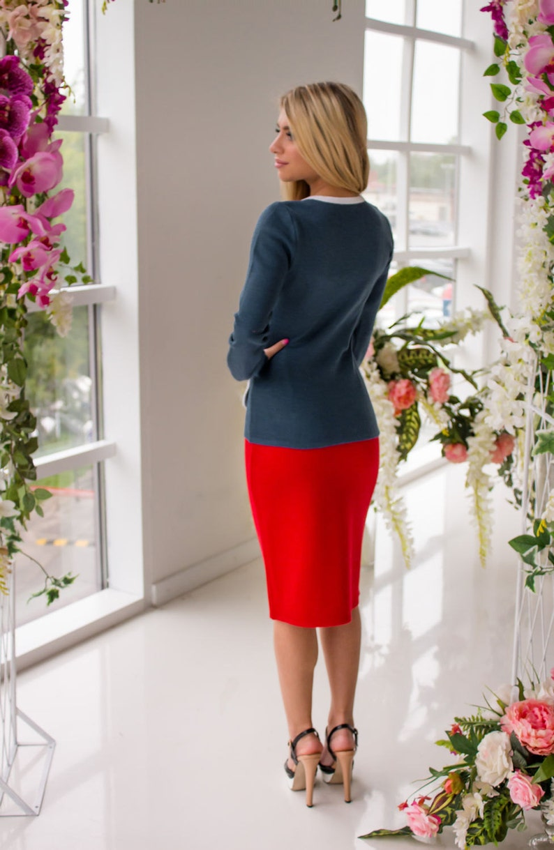 Knitted two-piece christmas suit Hot bright and stylish jacket and pencil skirt!