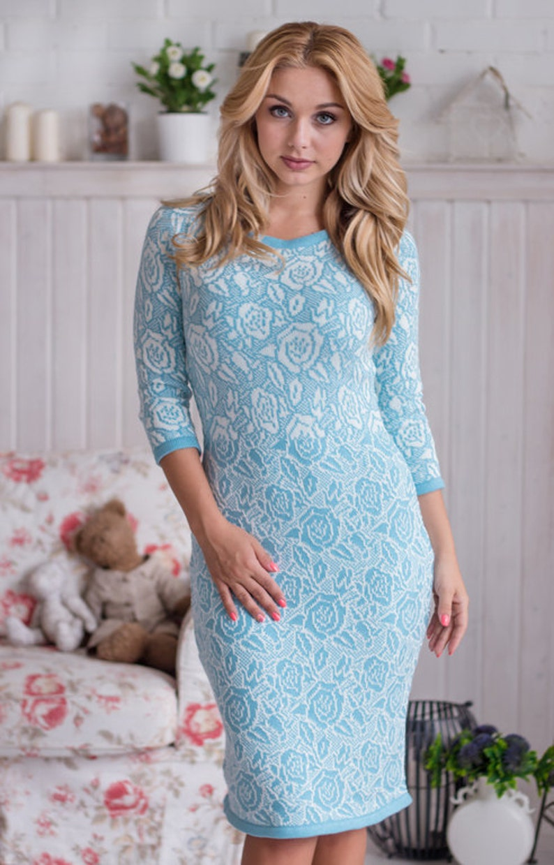 Knitted jacquard dress Blue Dream with delicate  a1125c146