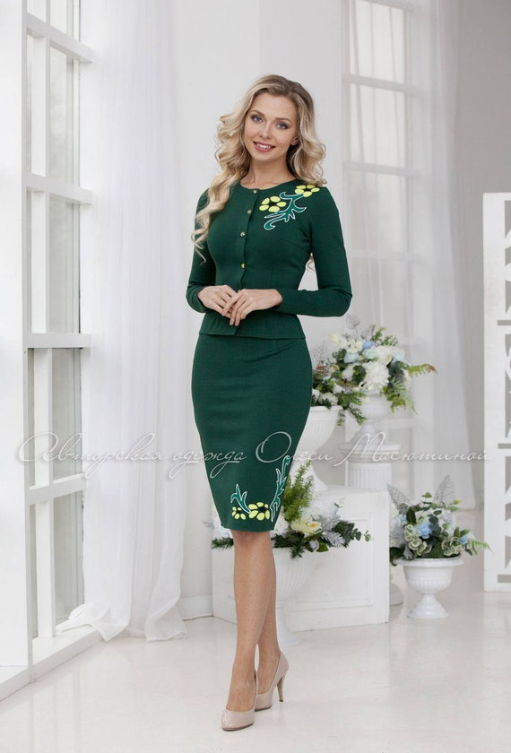 Comfortable model for every day for active modern lady! Knitted business woman suit Bohemia jacket and a pencil skirt with a slit