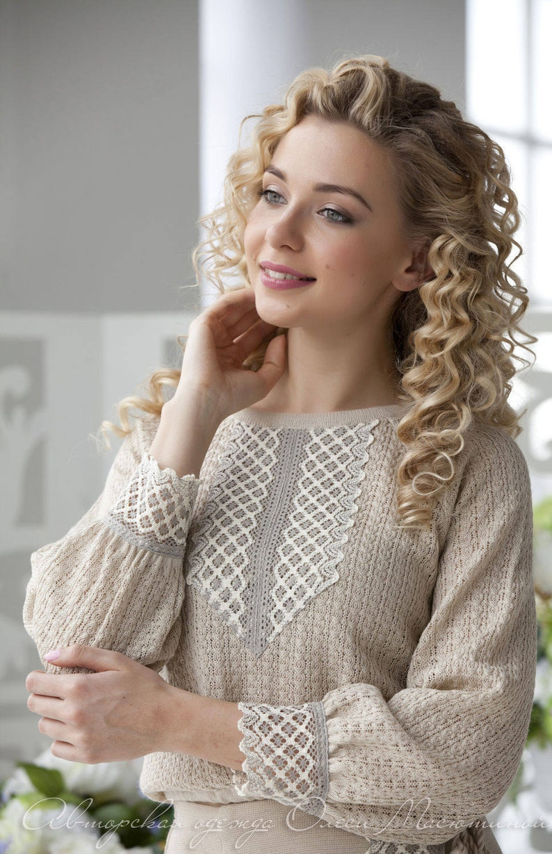 Chic two-piece beige suit Malushka in the Slavic and Russian style with linen lace!