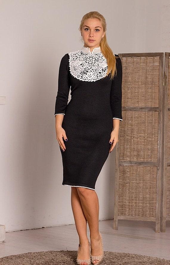 Caliente de punto vestido negro Madonna hilo   Etsy
