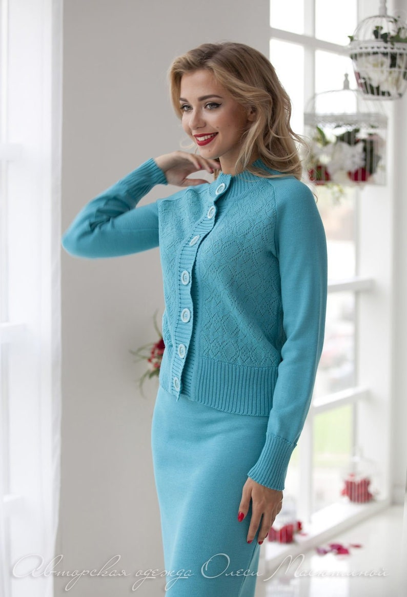 Warm knitted two-piece woman suit Marisol Italian threads Comfortable model for every day! a nice light turquoise color