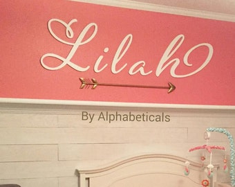 Wooden Name Sign for Nursery Girl Boy Baby Name Letters Wall Letters Wooden Signs Alphabeticals Kids Room Decor Wall Decor Script Avery