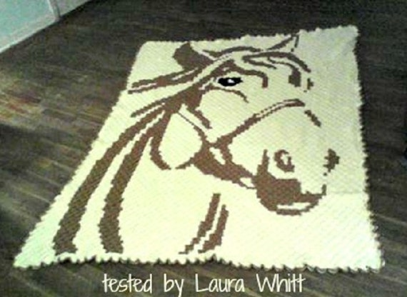 Horse C2c Graph Word Chart Crochet Pattern Corner To Etsy