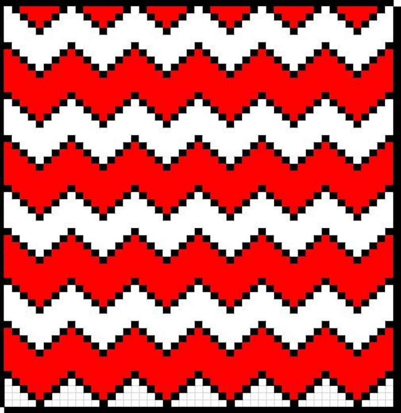 CHEVRON C2C Crochet Graph with row by row color chart instructions
