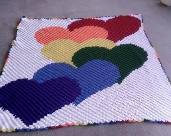 C2C GRAPH Rainbow Hearts c2c pattern with written word/color chart instructions. c2c graph pattern, crochet afghan pattern, c2c graph, c2c