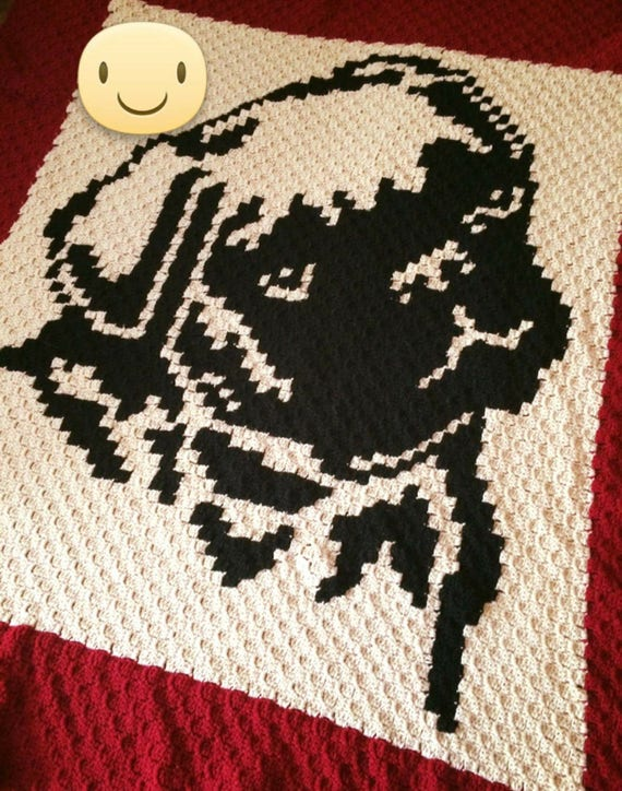 PUG C2C Crochet Graph with row by row color chart instructions