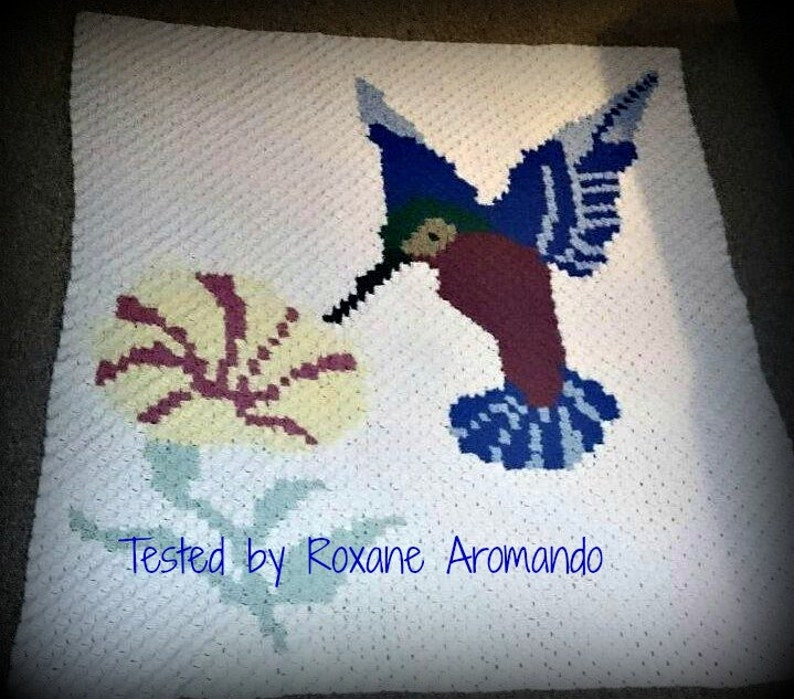 C2C graph Hummingbird and Flower c2c crochet graph pattern with row by row  color instructions, c2c afghan, crochet pattern, corner to corner