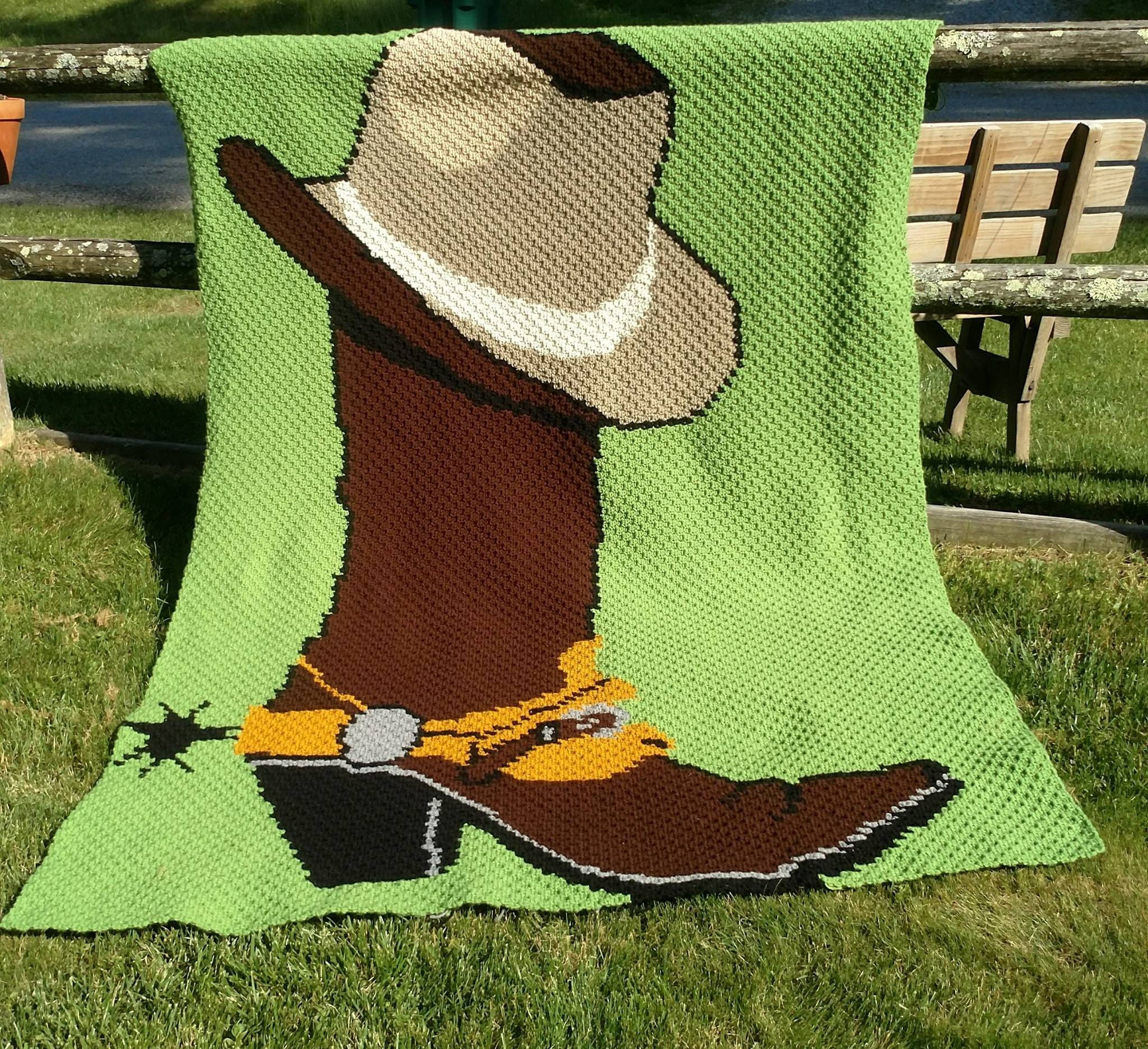 Mini C2c Pattern: Boot And Hat C2C Graph And Pattern. Mini C2c Cowboy Boot