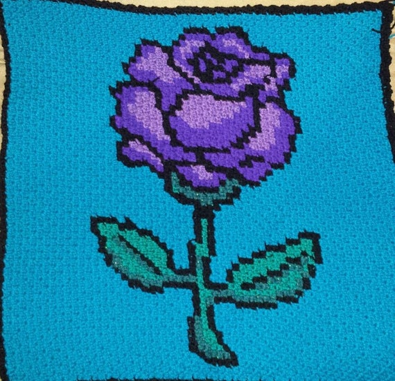 Micro Mini C2C Rose crochet graph and written pattern