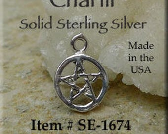 Sterling Silver Tiny Pentacle Charm Necklace, .925 Silver Miniature Pentagram Necklace, Pentagram, Pagan Wiccan Witchcraft Jewelry SE-1674
