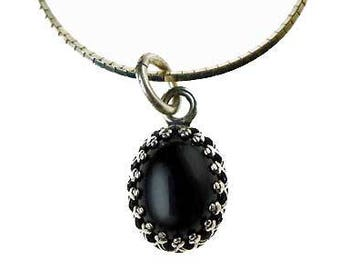 Black Onyx Charm-Pendant Necklace in Sterling Silver, Gift for Her, Minimalist Genuine Onyx Gemstone and Solid .925 Silver Jewelry - GSP458X