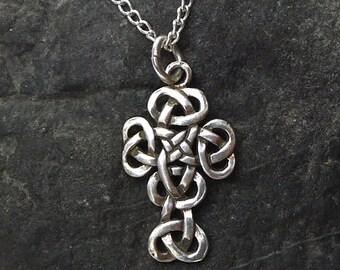 Celtic Cross Pendant, Sterling Silver Celtic Cross Necklace Jewelry - SE-1994